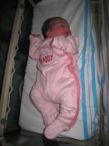 Lexi newborn I love Daddy sleep suit first smile