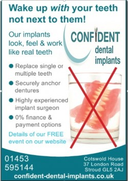 dental implants advert dentures in glass